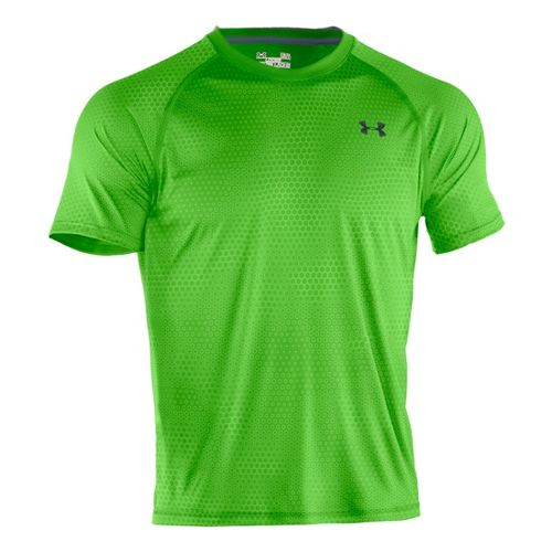 Mens Under Armour Tech EmboT Short Sleeve Technical Tops - Parrot Green/Wire L