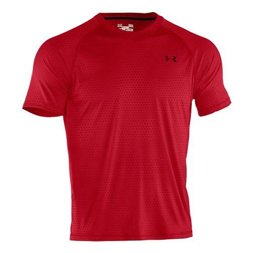 Mens Under Armour Tech EmboT Short Sleeve Technical Tops - Red/Black XXL