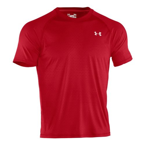 Mens Under Armour Tech EmboT Short Sleeve Technical Tops - Red/White XL