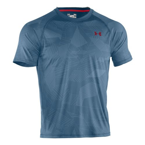 Mens Under Armour Tech EmboT Short Sleeve Technical Tops - Solder/Red L