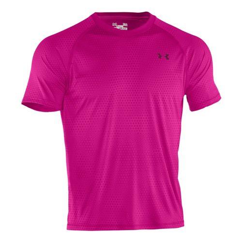 Mens Under Armour Tech Emboss T Short Sleeve Technical Tops - Tropic Pink/Black XXL