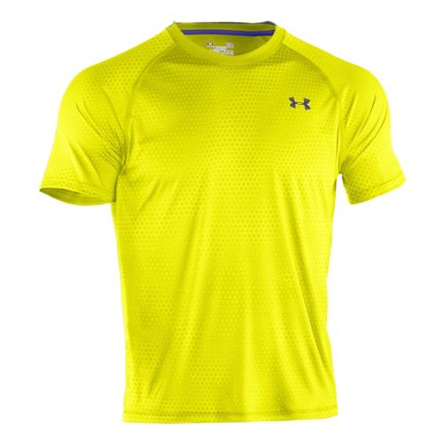 Mens Under Armour Tech Emboss T Short Sleeve Technical Tops - Steel Rattle 3XL
