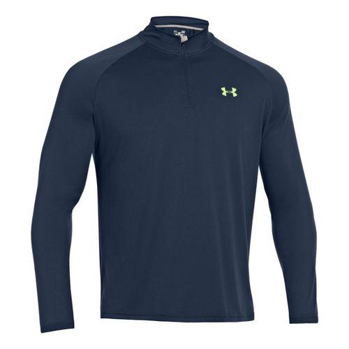 Mens Under Armour Tech 1/4 Zip T Short Sleeve Technical Tops - Academy/Hyper Green L ...