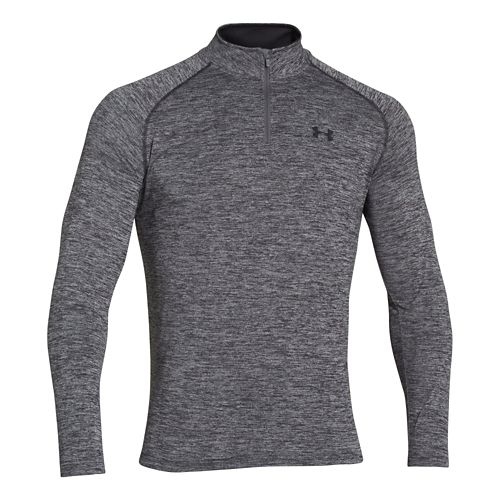 Mens Under Armour Tech 1/4 Zip T Short Sleeve Technical Tops - Black/Graphite L