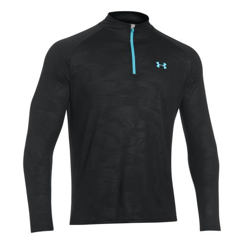 Mens Under Armour Tech 1/4 Zip T Short Sleeve Technical Tops - Black/Turquoise S