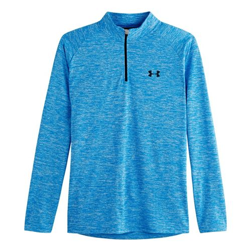 Mens Under Armour Tech 1/4 Zip T Short Sleeve Technical Tops - Electric Blue/Black M ...