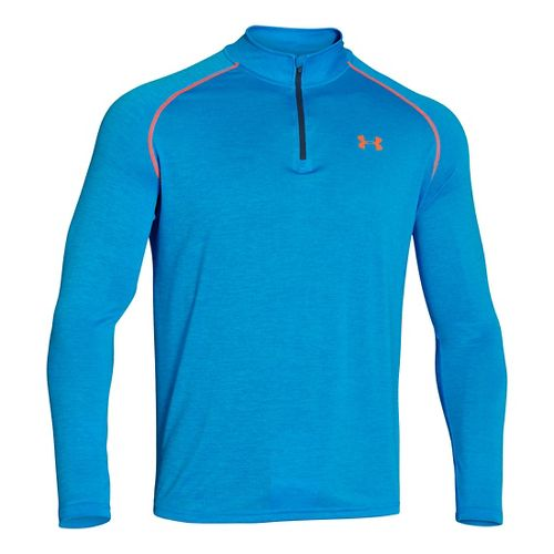 Mens Under Armour Tech 1/4 Zip T Short Sleeve Technical Tops - Electric Blue/Blaze XXL ...