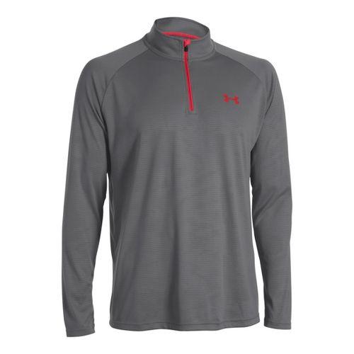Mens Under Armour Tech 1/4 Zip T Short Sleeve Technical Tops - Graphite/Red XXL