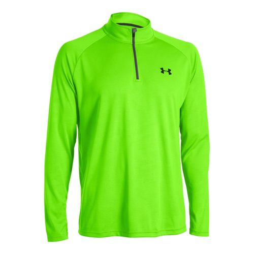 Mens Under Armour Tech 1/4 Zip T Short Sleeve Technical Tops - Hyper Green/Black S ...