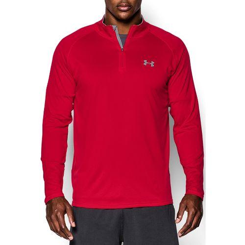 Mens Under Armour Tech 1/4 Zip T Short Sleeve Technical Tops - Red/Steel S