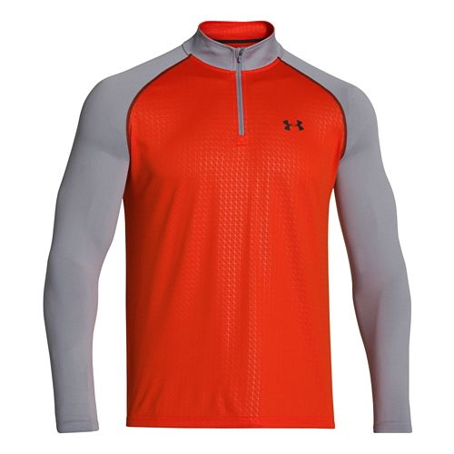 Mens Under Armour Tech 1/4 Zip T Short Sleeve Technical Tops - Volcano/Steel XXL