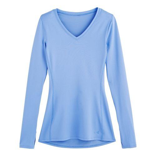 Womens Under Armour Coldgear Infrared V-Neck Long Sleeve No Zip Technical Tops - Ceylon XS ...
