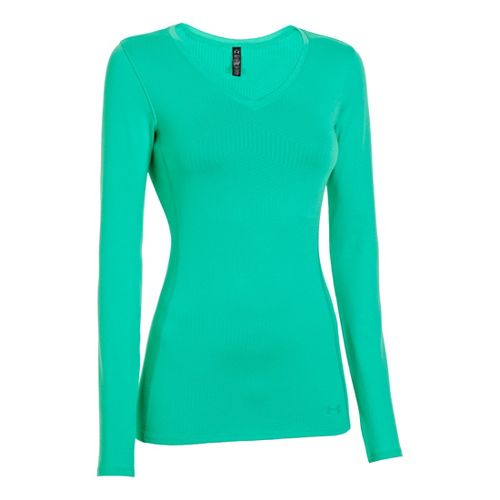 Womens Under Armour Coldgear Infrared V-Neck Long Sleeve No Zip Technical Tops - Emerald Lake ...