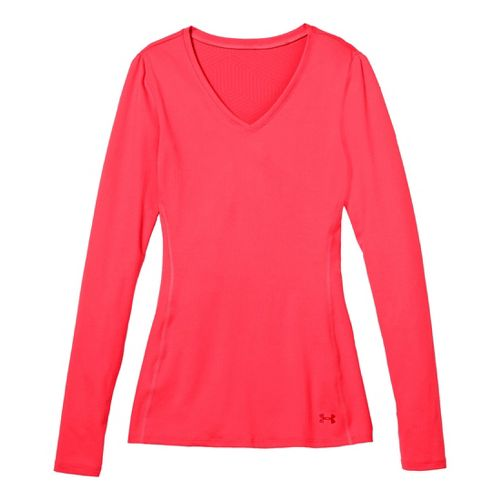 Womens Under Armour Coldgear Infrared V-Neck Long Sleeve No Zip Technical Tops - Neo Pulse/Neo ...