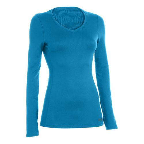 Womens Under Armour Coldgear Infrared V-Neck Long Sleeve No Zip Technical Tops - Pirate ...