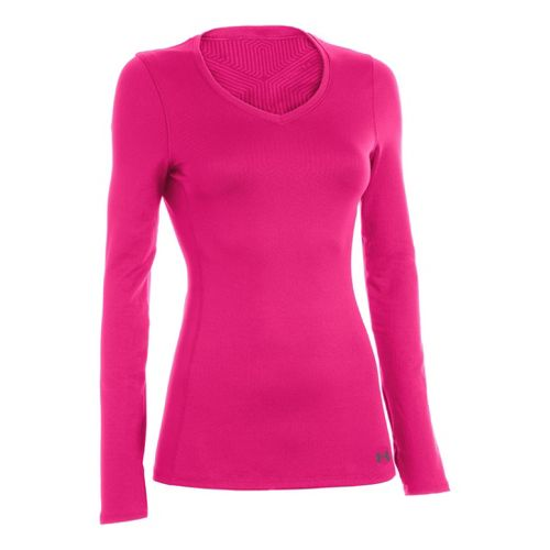 Womens Under Armour Coldgear Infrared V-Neck Long Sleeve No Zip Technical Tops - ...