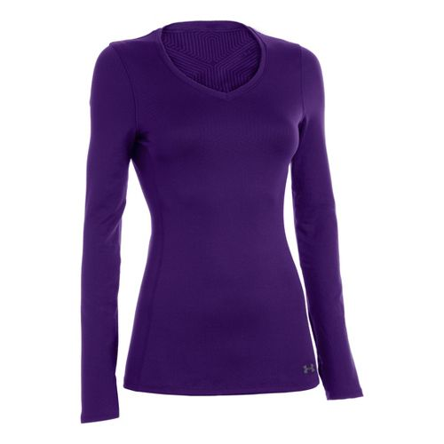 Womens Under Armour Coldgear Infrared V-Neck Long Sleeve No Zip Technical Tops - Purple ...
