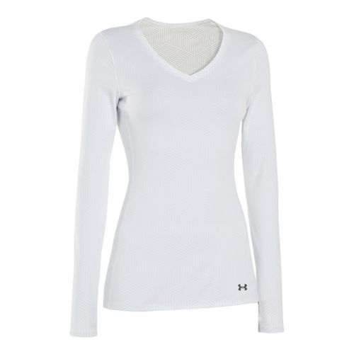 Womens Under Armour Coldgear Infrared V-Neck Long Sleeve No Zip Technical Tops - White/White M ...