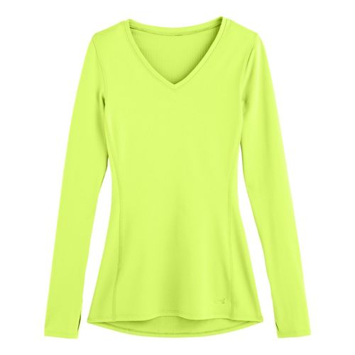 Womens Under Armour Coldgear Infrared V-Neck Long Sleeve No Zip Technical Tops - X-Ray M ...