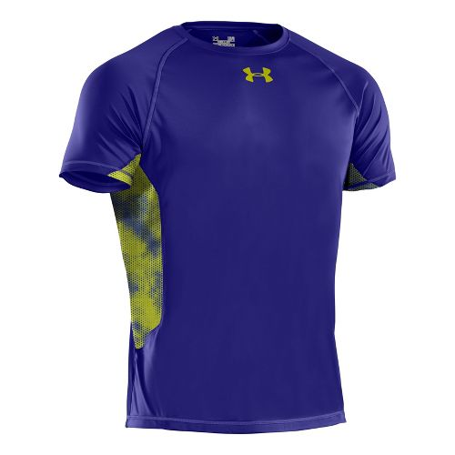 Mens Under Armour HeatGear Flyweight T Short Sleeve Technical Tops - Caspian/High Vis Yellow ...