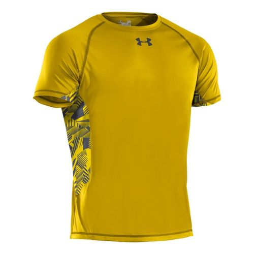 Mens Under Armour HeatGear Flyweight T Short Sleeve Technical Tops - Taxi/Graphite S