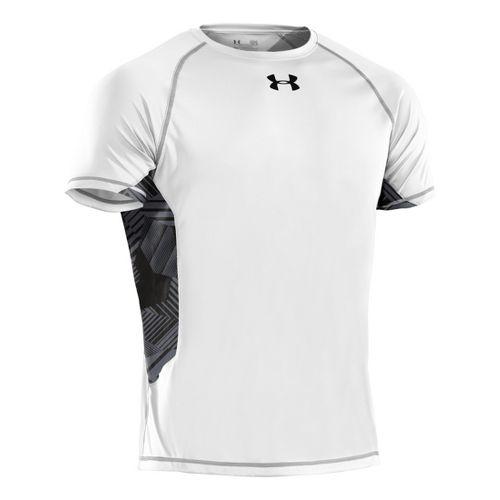 Mens Under Armour HeatGear Flyweight T Short Sleeve Technical Tops - White/Black XXL
