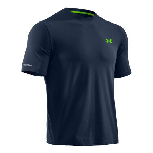 Mens Under Armour Charged Cotton T Short Sleeve Technical Tops - Academy/Hyper Green M