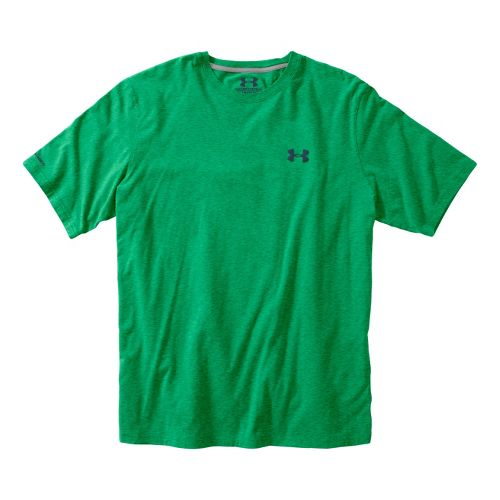 Mens Under Armour Charged Cotton T Short Sleeve Technical Tops - Astro Green/Wham L