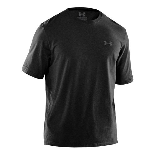 Mens Under Armour Charged Cotton T Short Sleeve Technical Tops - Asphalt Heather/Graphite XXL