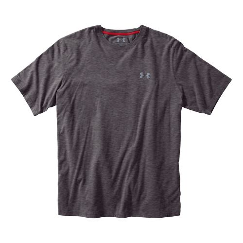Mens Under Armour Charged Cotton T Short Sleeve Technical Tops - Carbon Heather/Steel S