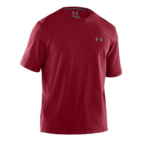 Mens Under Armour Charged Cotton T Short Sleeve Technical Tops - Crimson/Graphite XXL