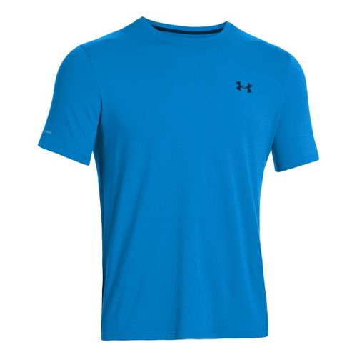 Mens Under Armour Charged Cotton T Short Sleeve Technical Tops - Electric Blue/Black XL