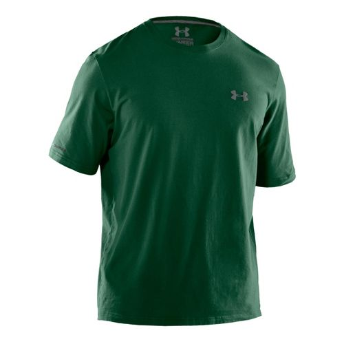 Mens Under Armour Charged Cotton T Short Sleeve Technical Tops - Forest Green/Graphite M