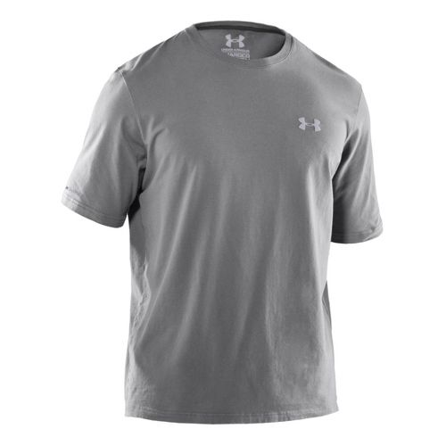 Mens Under Armour Charged Cotton T Short Sleeve Technical Tops - Graphite/Aluminum L