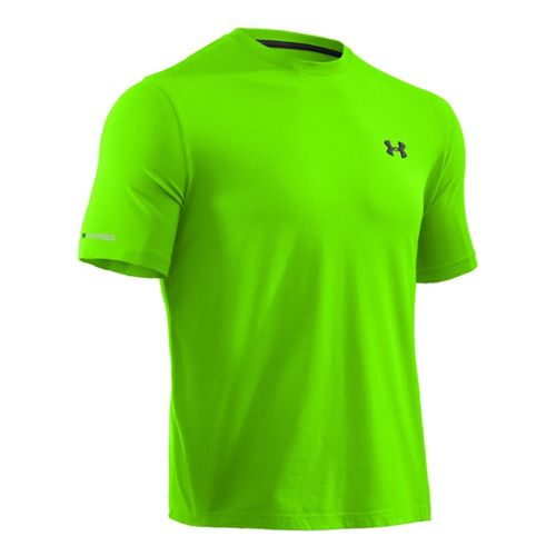 Mens Under Armour Charged Cotton T Short Sleeve Technical Tops - Hyper Green/Black L