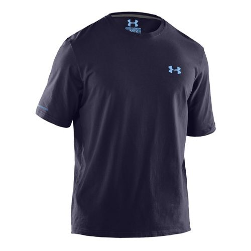 Mens Under Armour Charged Cotton T Short Sleeve Technical Tops - Midnight Navy/Carolina Blue LT ...