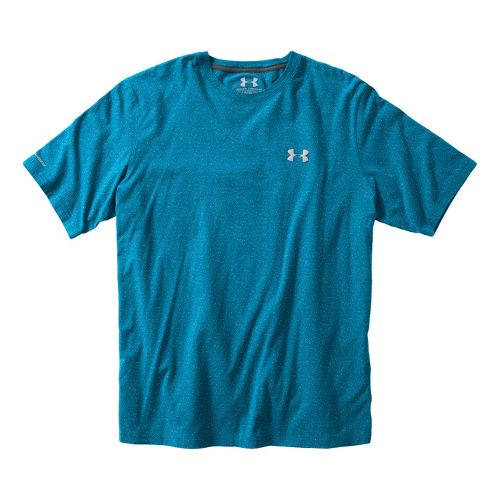 Mens Under Armour Charged Cotton T Short Sleeve Technical Tops - Pirate Blue/Aluminum XXL