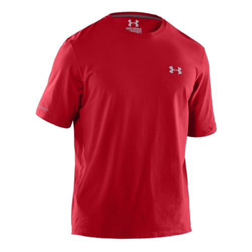Mens Under Armour Charged Cotton T Short Sleeve Technical Tops - Red/Aluminum M