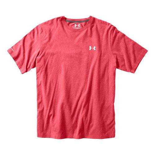 Mens Under Armour Charged Cotton T Short Sleeve Technical Tops - Red/White XL