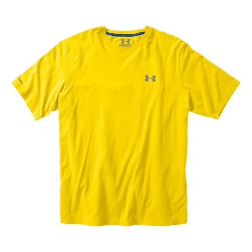 Mens Under Armour Charged Cotton T Short Sleeve Technical Tops - Solar/Moon Shadow S
