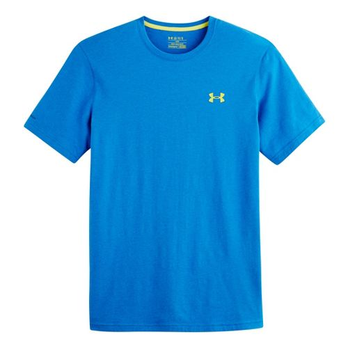 Mens Under Armour Charged Cotton T Short Sleeve Technical Tops - Superior Blue/Flash Light M ...