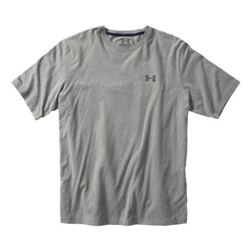 Mens Under Armour Charged Cotton T Short Sleeve Technical Tops - True Grey Heather/Graphite XXL ...
