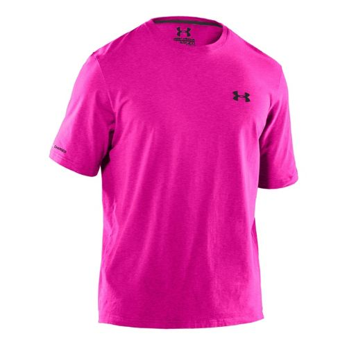 Mens Under Armour Charged Cotton T Short Sleeve Technical Tops - Tropic Pink/Black XL