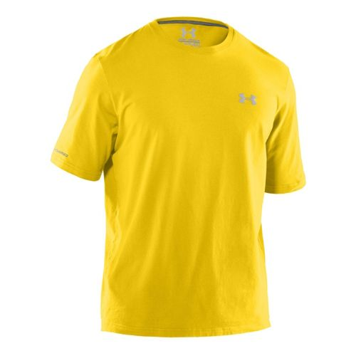 Mens Under Armour Charged Cotton T Short Sleeve Technical Tops - Taxi/Aluminum L