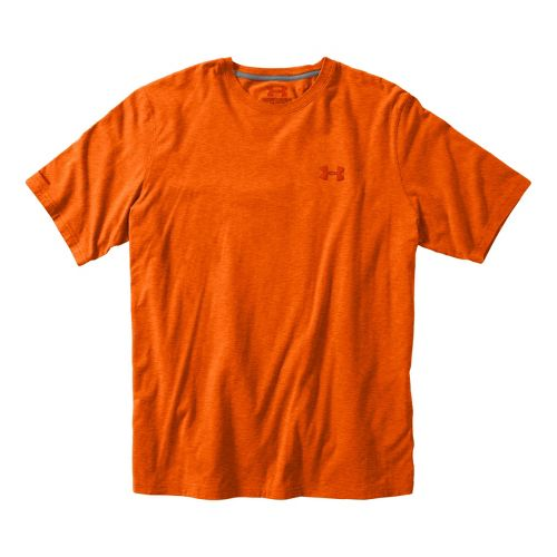Mens Under Armour Charged Cotton T Short Sleeve Technical Tops - Vivid/Scorched XL