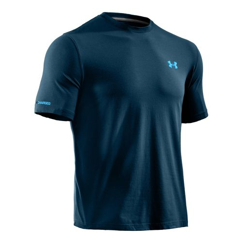 Mens Under Armour Charged Cotton T Short Sleeve Technical Tops - Wham/Pirate Blue L