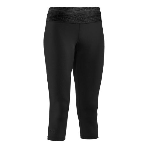 Womens Under Armour Sonic Capri Tights - Black/Black M
