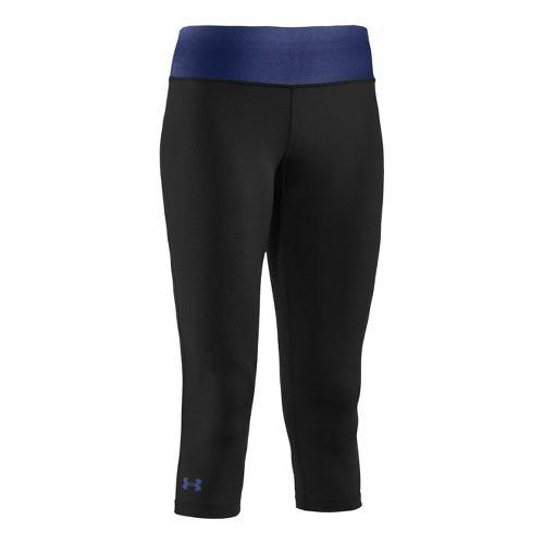 Womens Under Armour Sonic Capri Tights - Black/Blu-Away S