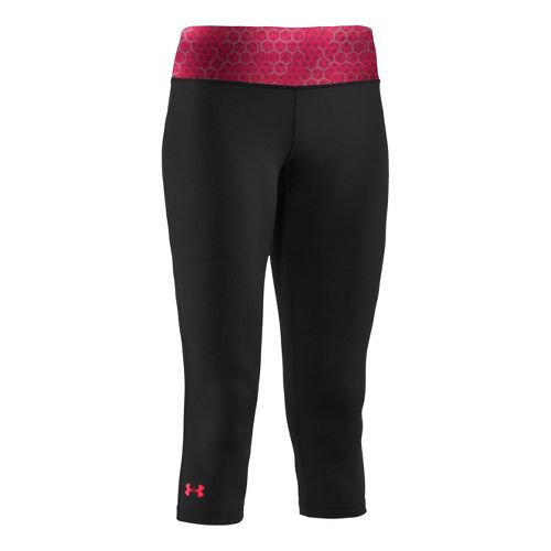 Womens Under Armour Sonic Capri Tights - Black/Hibiscus S