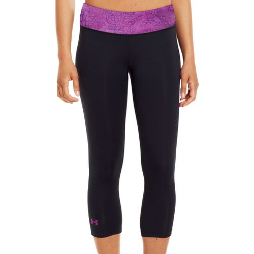 Womens Under Armour Sonic Capri Tights - Black/Purple Rain L